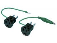 Adapter - 2-Prong + Ground ⇔ 2-Prong + Alligator Clip