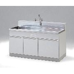 Sink, with three-faucet neck and long wall, chemical water stopper