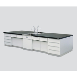 Central Laboratory Bench Wooden Riser, with Face-To-Face Sink 2400 x 1200 x 800
