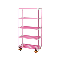 5 Stages Pole Shelf (Antibacterial Anti-Mold ERECTA (R)) 1500 x 450 x 1800 with Caster Pink