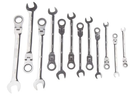 The RS Pro 12 Piece Flex Head Combination Ratchet Spanner Set