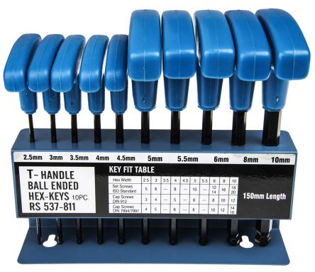 T Shape Hex Key Set 10 Pieces Chrome Vanadium Steel