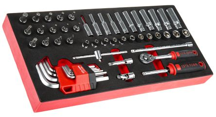 52 Piece 1/4in Socket & Hex Key Set Tool Module