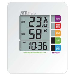 Thermo-Hygrometer with Heatstroke Index Meter Display for Dual Use Wall-Hanging/Tabletop