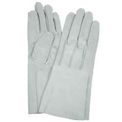 Cow split leather gloves for welding 5-finger type back stitch