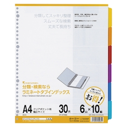 Laminate Tab Index, A4S, 30 Holes, 6 Tabs 10 Sets
