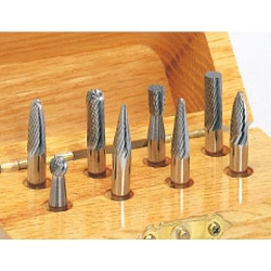 Carbide Cutter, Assorted Set (with Wood Box), Shaft Diameter ⌀6.0