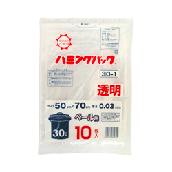 Trash bag, 30 L 10 pieces, polypropylene bag, transparent