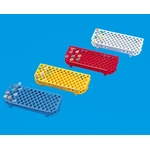 μ Test Tube Rack, for 1.5 ml, White, Red, Yellow, Blue