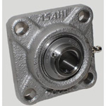 Square flange type unit, cylindrical bore type with stainless steel series set screw, MUCF type