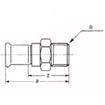 Fitting for Copper Pipes Used in Building Piping, CU Press, Socket with Male Adapter
