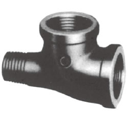 Screw-In PL Fitting, Malleable Cast Iron Pipe Fitting, Service Tee (Rimmed)