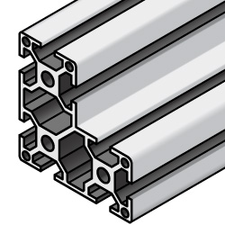 Aluminum Frame 8 Series/slot width 10/80x80x40mm, Parallel Surfacing