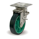 Stainless Steel Casters, Freely Swiveling, Stopper with JSZ Metal Fittings, UP/JSZ