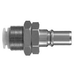S Coupler KK Series, Plug (P) Bulkhead Type With One-Touch Fitting