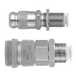 S Coupler KK Series, Socket (S) Bulkhead Type With One-Touch Fitting