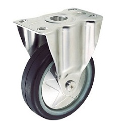 Press-Formed Sound-Dampening Caster, Rubber Wheels/Stainless Steel Fittings, Fixed
