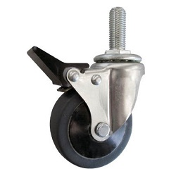 Screw-in Type Quiet Caster (Elastomer Wheels) with Freely Rotating Stopper