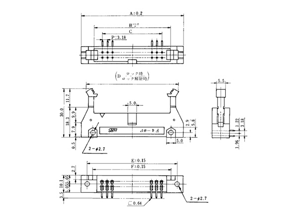Pin header right-angle type dimensional drawing
