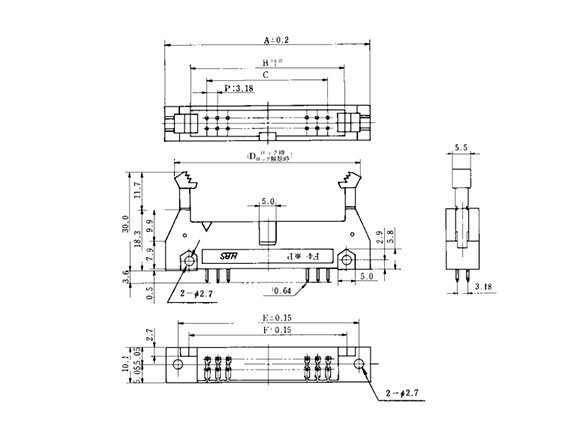 Pin header straight DIP type dimensional drawing