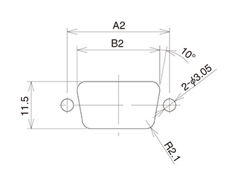 Dimensional drawing for installing connector from rear of panel (rear mounting)