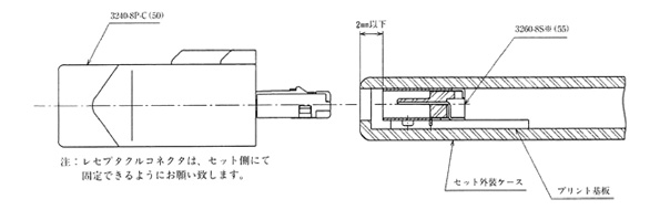 Reference diagram of connector mounted state / 3240-8P-C(50) / 3260-8S*(55), Caution: The design should permit the receptacle connectors to be fastened at the equipment side.