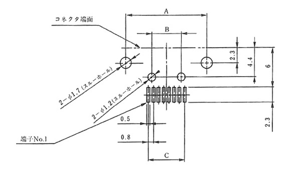 Board mounting dimensional drawing (mounting surface side) / Grounding board DIP area: manual solder type