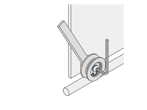 Example of use: Adjust the roller pin (eccentric) body with a wrench and then tighten the bolts.